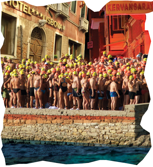 Swimmers gathering for the Hellespont