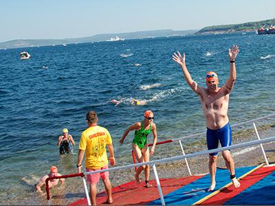 Chris Flynn at the Hellespont Finish Line