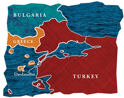 Map of Turkey and Dardanelles