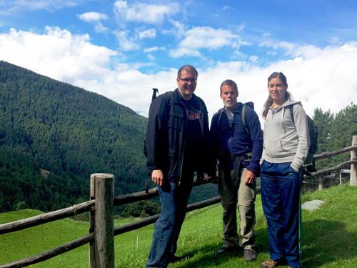 Chris Flynn and alumni hiking Simplon Pass