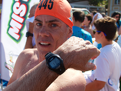 Chris Flynn showing watch with 1:10 Hellespont time