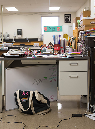 Angie Lux teaching desk