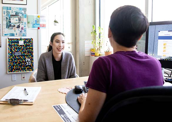 Student meeting with admission counselor