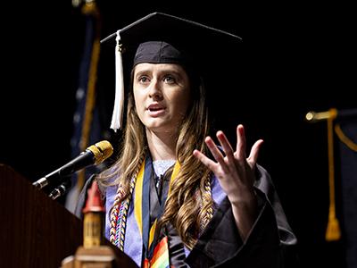 St. Edward's valedictorian Jennifer Dennington speaks at 2019 Commencement