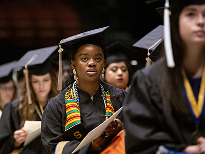 St. Edward's graduates listen to speakers at 2019 Commencement