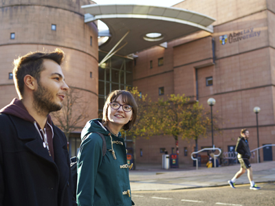 Students on Abertay University campus in Scotland