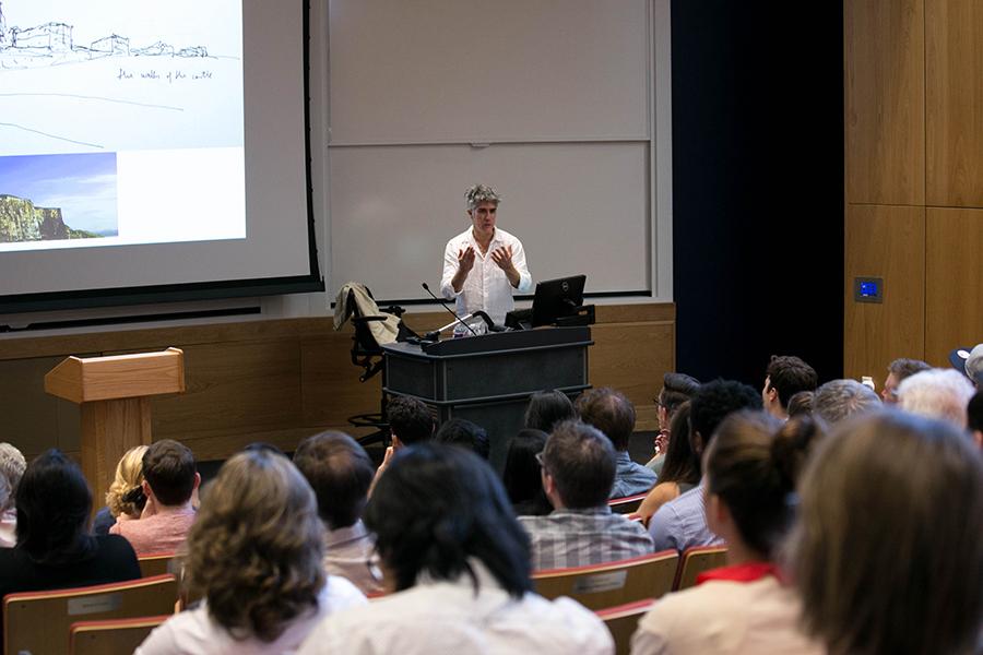 Alejandro Aravena speaks to Austin architects in Carter Auditorium at St. Edward's University