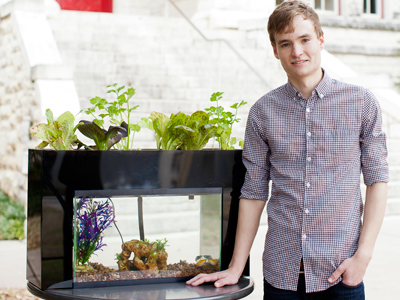 Jack Ikard '16 in front of his AquaSprouts