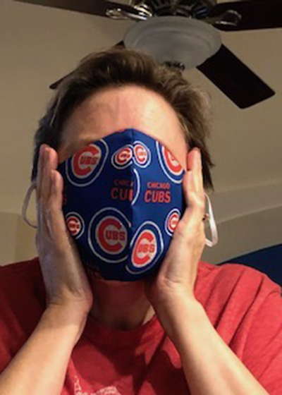 Stephanie Martinez in Chicago Cubs Face Mask