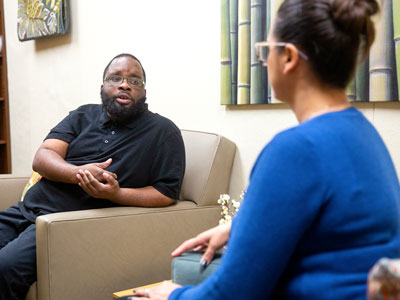 Graduate student meets with Admission Counselor