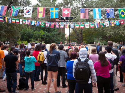 Students and international flags fill Ragsdale Plaza