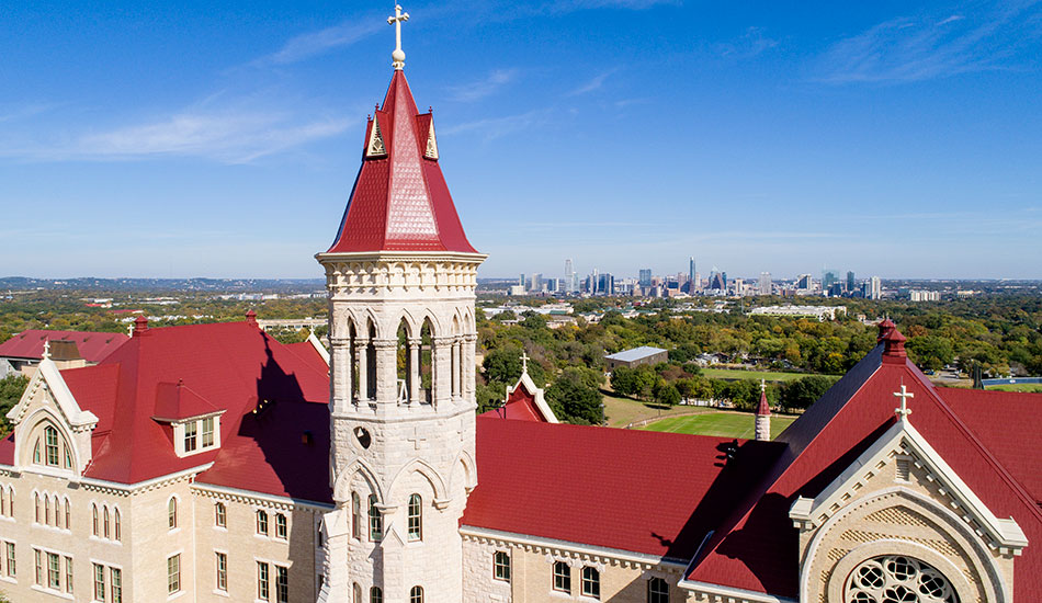 Main Building at St. Edward's University overlooking downtown Austin, TX