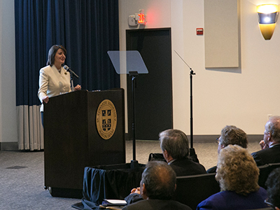 Atifete Jahjaga speaking to audience at St. Edward's University