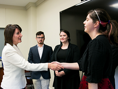 Atifete Jahjaga meeting St. Edward's University students