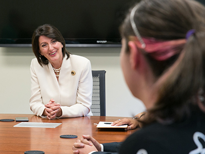 Atifete Jahjaga talking to St. Edward's University student