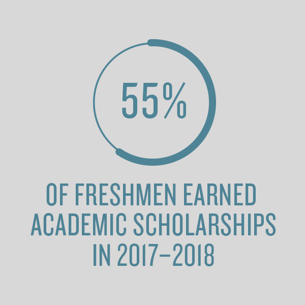 55% of freshmen earned academic scholarships in 2017-2018