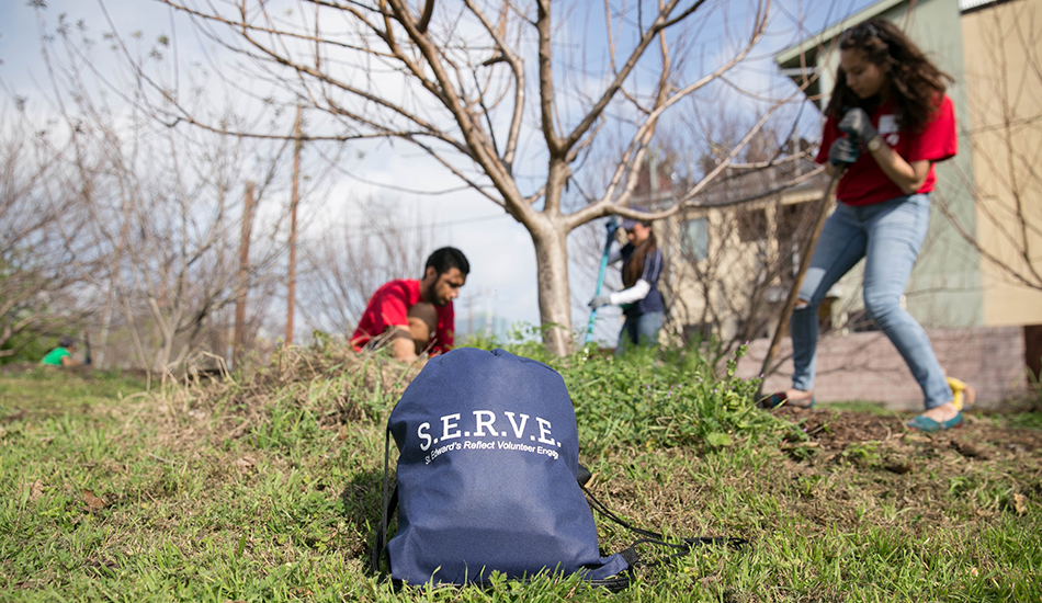 Students at St. Edward's take care trees and landscaping at a community park as part of S.E.R.V.E. Austin.