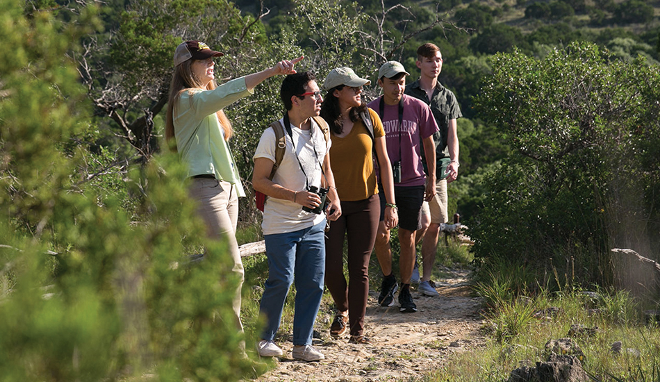 Students hiking at Wild Basin Creative Research Center