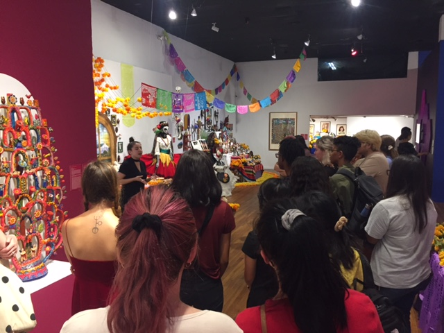 Students view exhibit at Mexic-Arte Museum