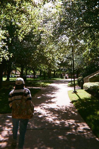 Walking around campus with a friend