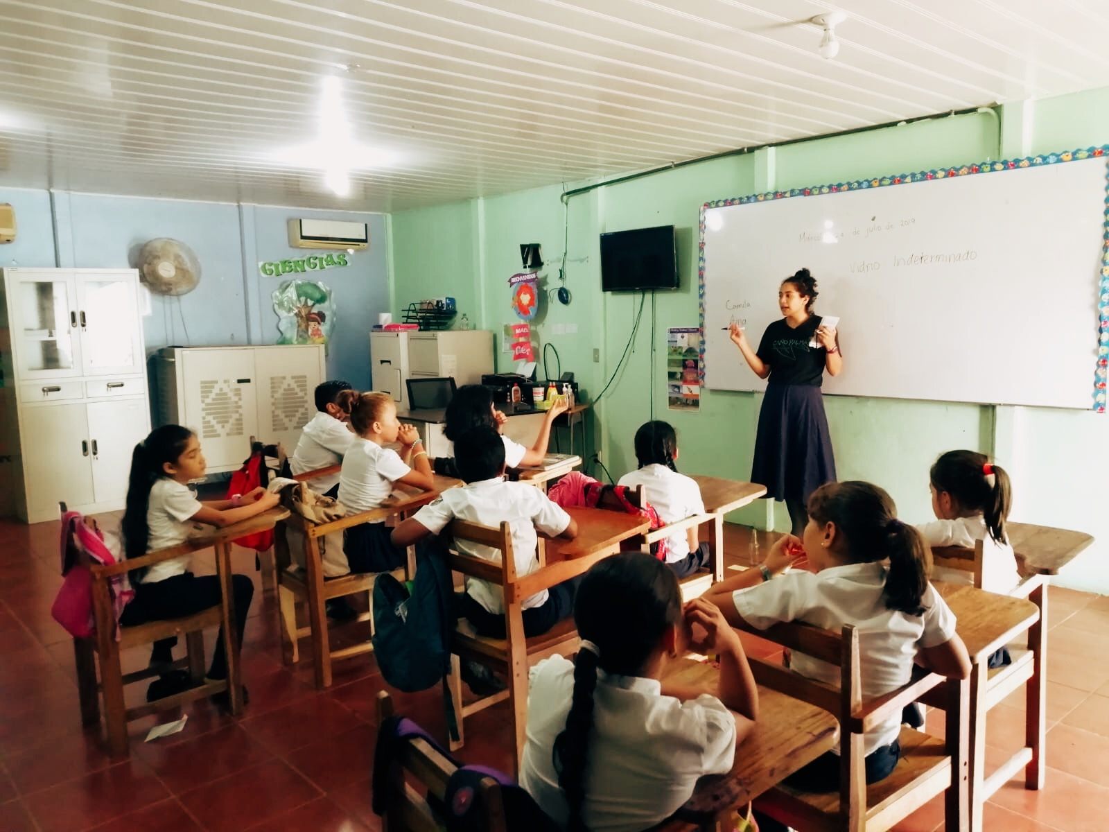 Camila Rojas in a classroom in Costa Rica