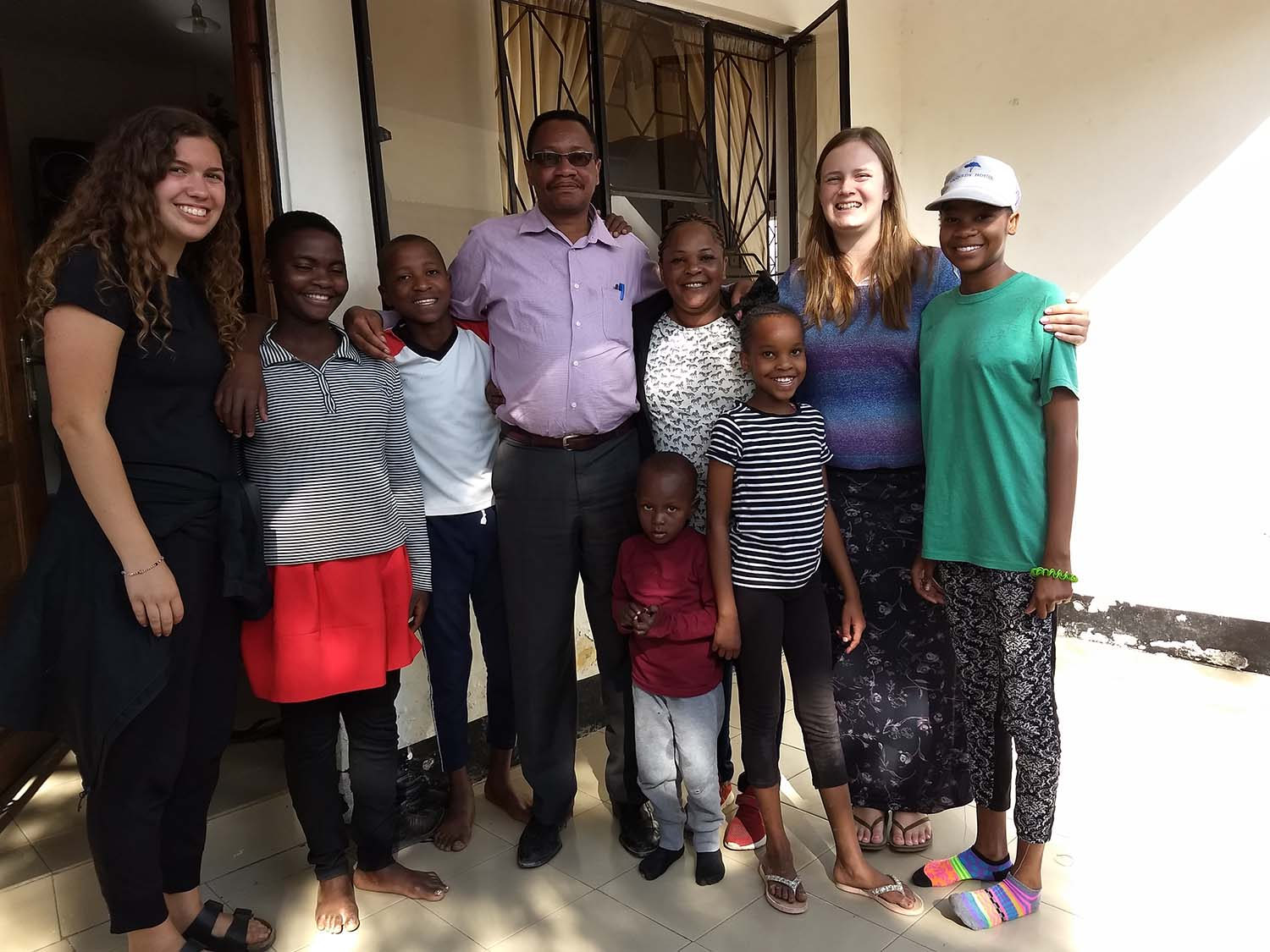 Andi with her exchange family in Tanzania