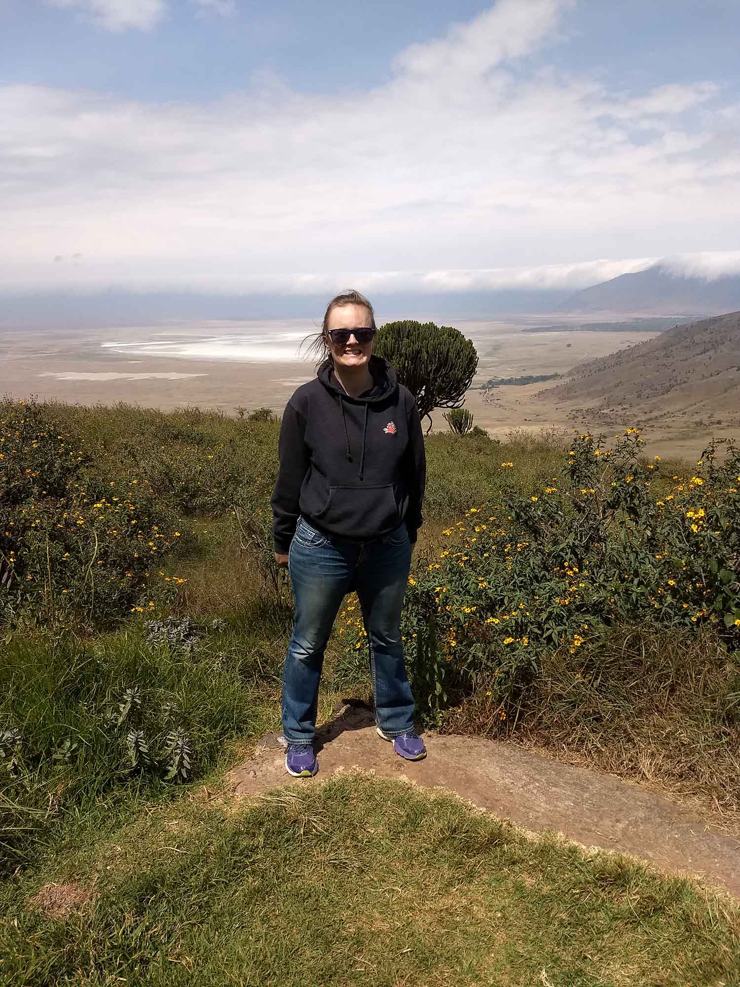 Andi outside of Ngorongoro
