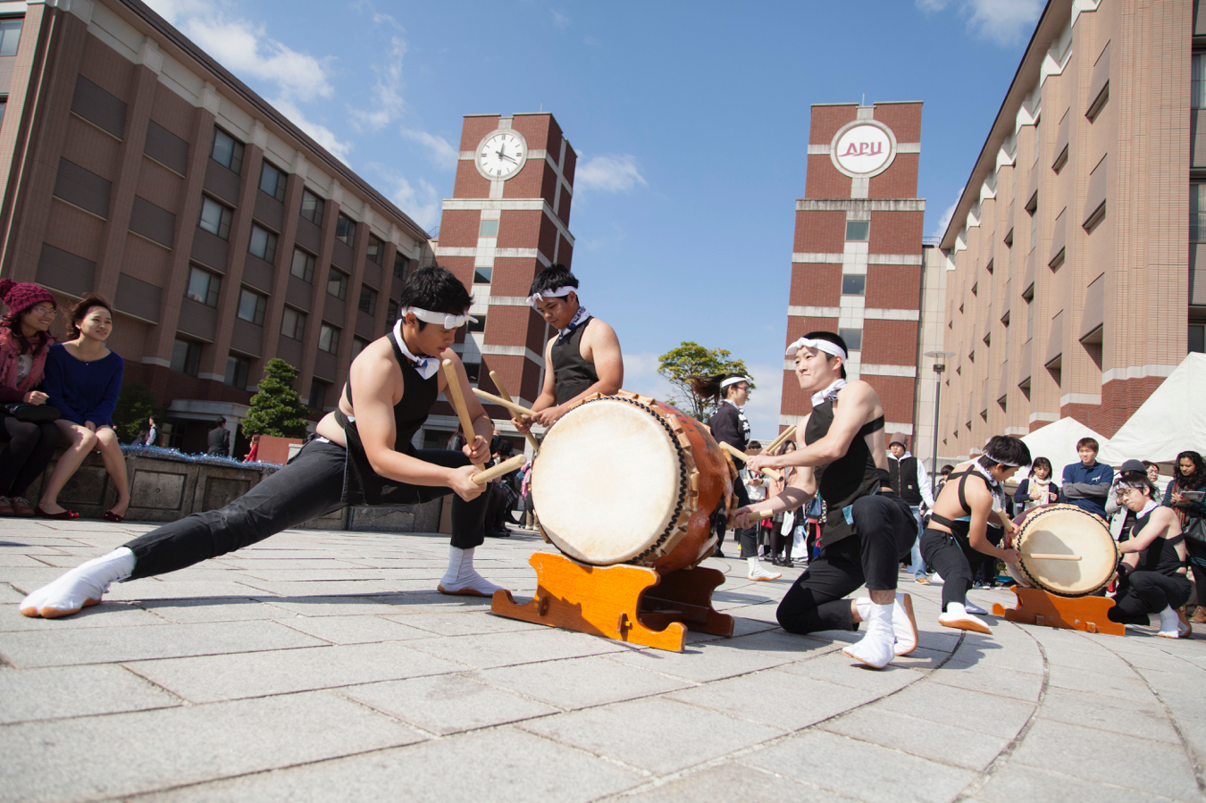 APU campus with drummers
