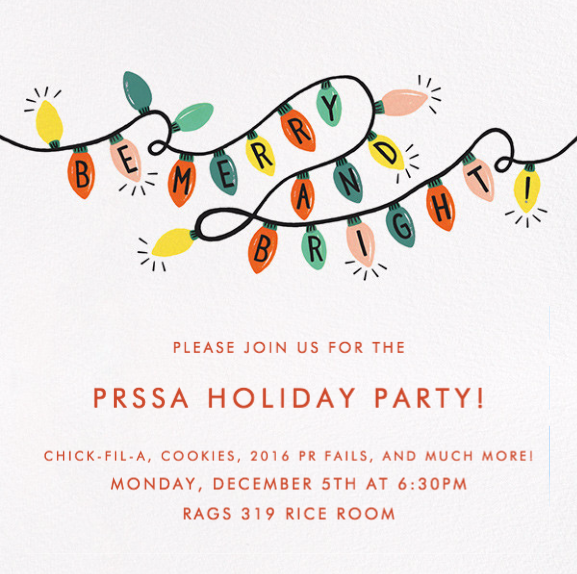 Flyer for PRSSA Holiday Party Fall 2017