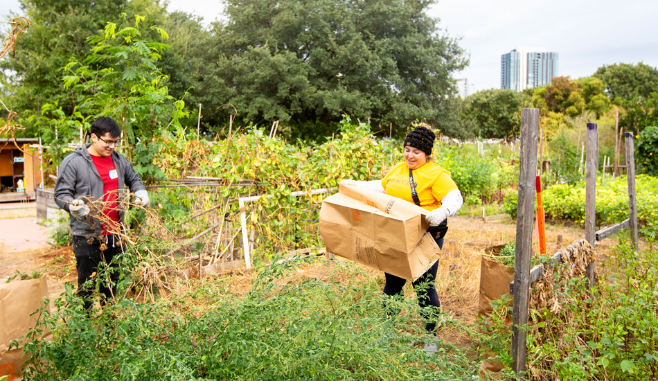Students participate in service at a Community Garden