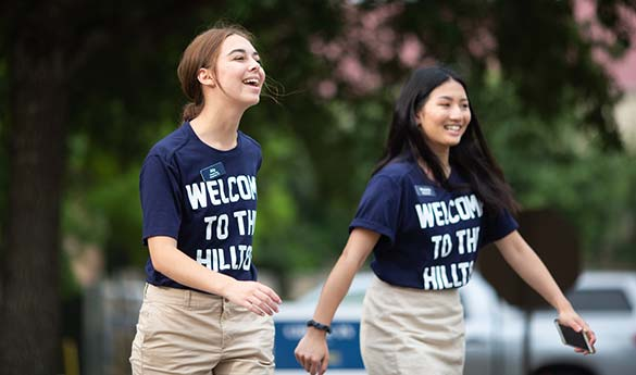 Students at orientation walking
