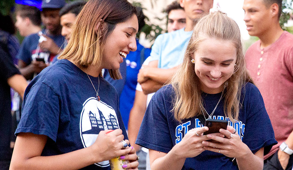 students follow each other on social media