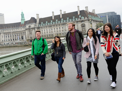 Students walking together in London