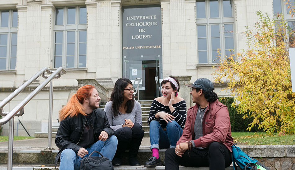 Students converse in Angers, France on their study abroad trip
