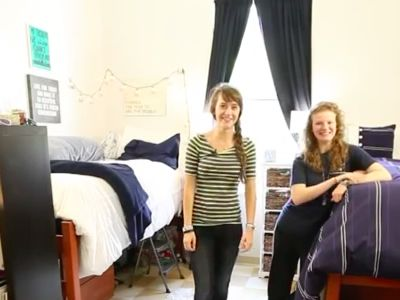 Two students in dorm room