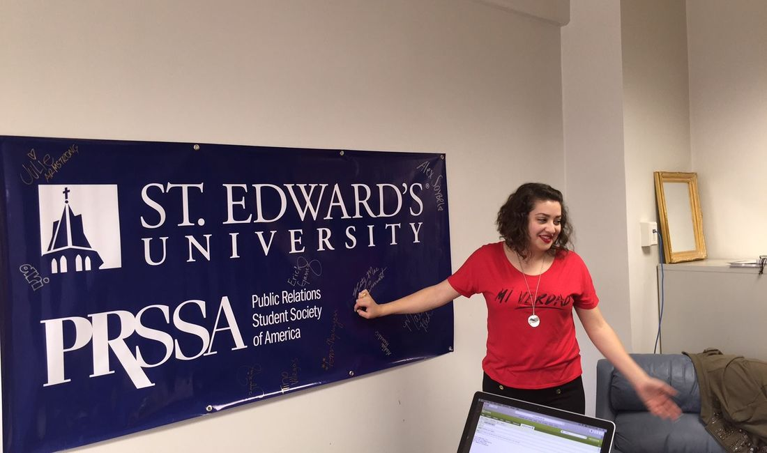 PRSSA BANNER and COMM Major, Ruby Leon