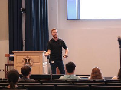 Joshua Dunham, Community Development Specialist for Microsoft, presents in Jones Auditorium