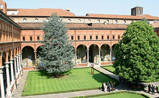 Courtyard view of a building at The Università Cattolica del Sacro Cuore, Milan, Italy
